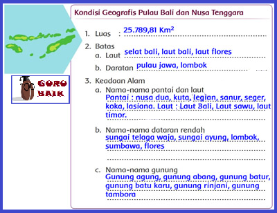 [Kondisi Geografis pulau Bali Dan Nusa Tenggara berdasarkan peta].