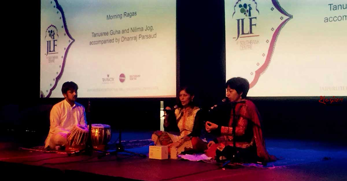 In true JLF fashion, Tanusree Guha and Nilima Jog, accompanied by Dhanraj Parsaud, from the Bharatiya Vidya Bhavan in London, set the mood for the day ahead with their spellbinding Morning Ragas.