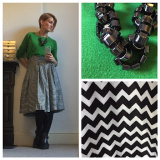 Green jumper and full skirt