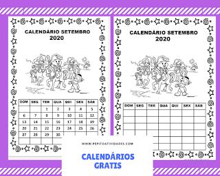 Calendário setembro turma da Mônica para imprimir colorir e preencher em 2020.