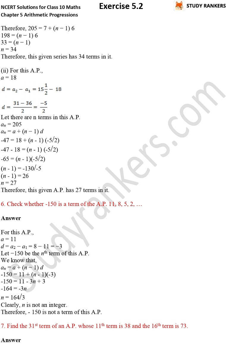 NCERT Solutions for Class 10 Maths Chapter 5 Arithmetic Progressions Exercise 5.2 Part 6