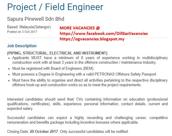 Oil &Gas Vacancies: Project / Field Engineer -Sapura Pinewell -Malaysia