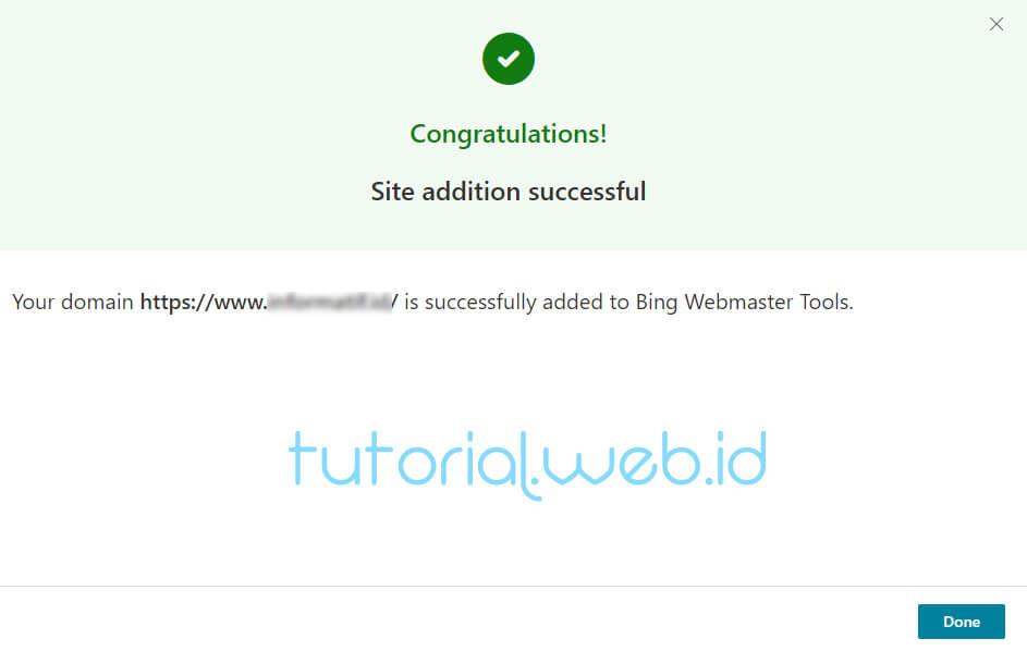 Cara Submit Blog Ke Bing 7 Pilih Done