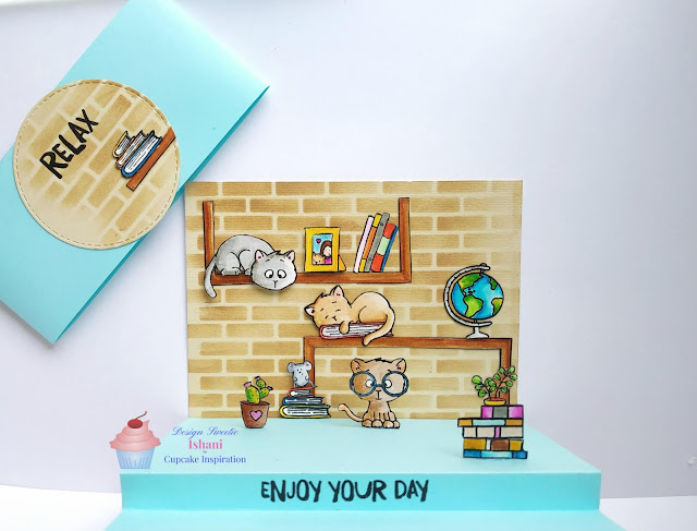 Gerda Steiner Designs, On the book shelf stamp GSD, interactive card, Floor pop up card, Zig clean colour brush pens, Quillish, Everyday cards, cards by Ishani, Cat card, card for cat lover, cute card