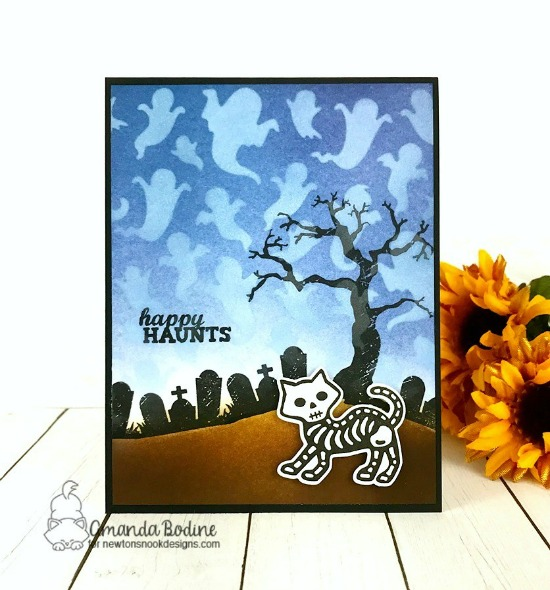 Happy Haunts Card by Amanda Bodine | Spooky Street Stamp Set, Spooky Skeletons Stamp Set, Ghost Stencil and Hills & Grass Stencil by Newton's Nook Designs #newtonsnook #handmade