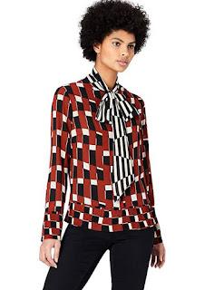 FIND Blusa con Fiocco e Stampa Geometrica Donna