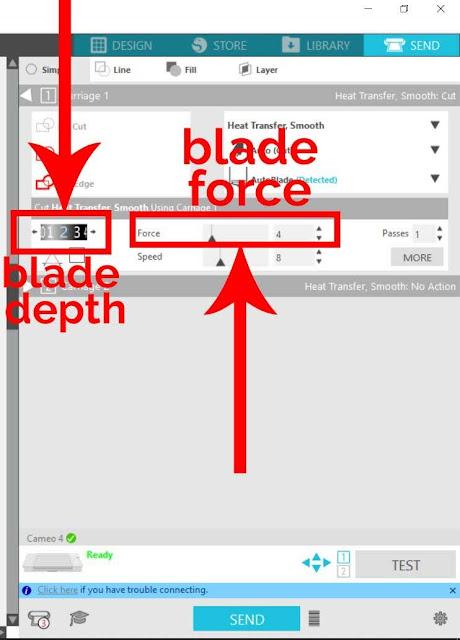 cut settings, cameo 4 blade, HTV, silhouette cameo 4, test cut