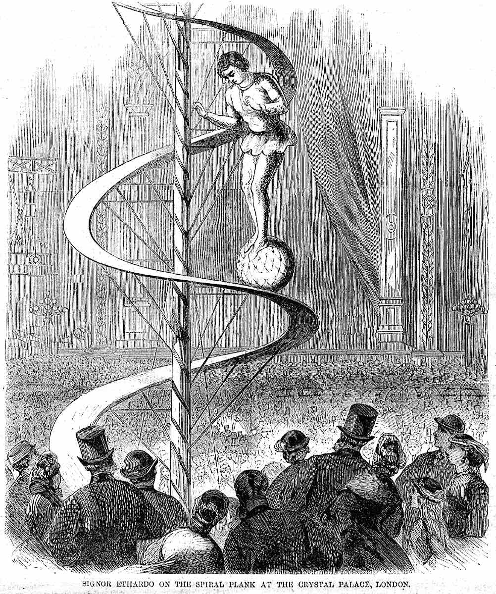 performer Signor Ethardo walked a ball up a spiral ramp 1851 Great Exhibition London, illustrated