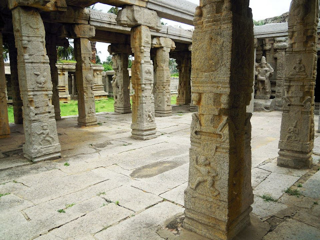 Wonderfully carved granite pillars in the 100-column hall of the Achyutaraya Temple in Hampi