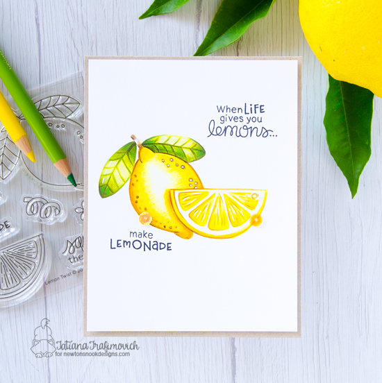 Hello Sunshine Lemon card by Tatiana Trafimovich | Lemon Twist Stamp Se by Newton's Nook Designs #newtonsnook #handmade
