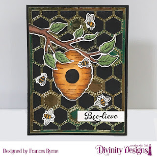 Stamp/Die Duos: Bee-lieve   Custom Dies: A2 Portrait Card Base with Layer, Matting Rectangle, Quilted Honeycomb Background, Sentiment Strips