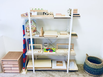 Montessori Math Space with materials on the shelves