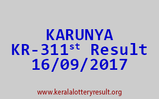 KARUNYA Lottery KR 311 Results 16-9-2017