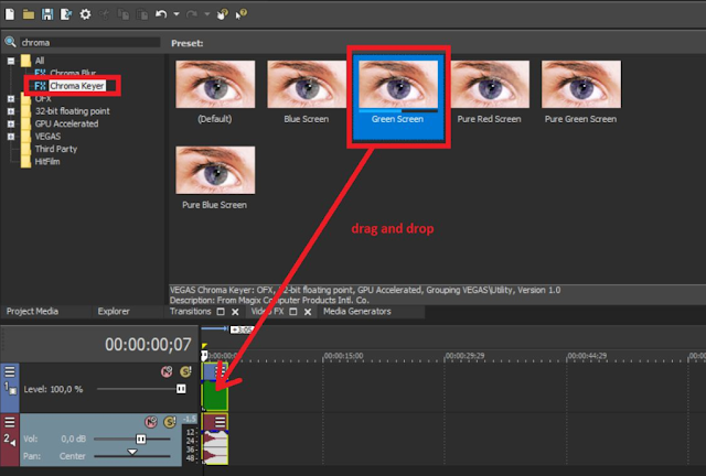 How to remove the green background in Sony Vegas