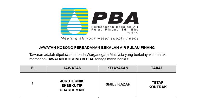 Perbadanan Bekalan Air Pulau Pinang Sdn Bhd [ Jawatan Kosong ]