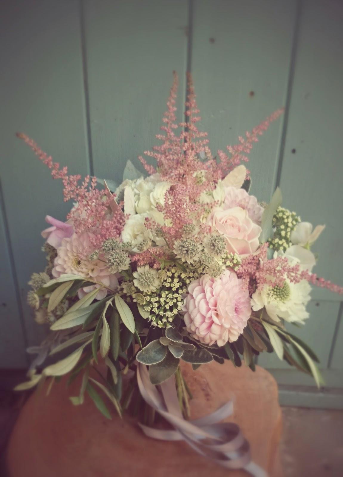 dahlia pastel boho bridal bouquet