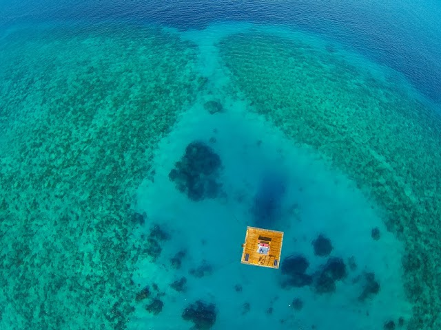 Strange half-float hotel in the middle of the sea in Africa