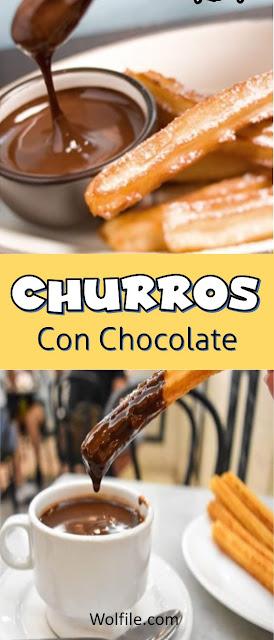 Churros Con Chocolate Recipe #Churros #Chocolate #Cake #snack