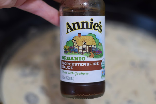 Worchestershire Sauce being added to pan