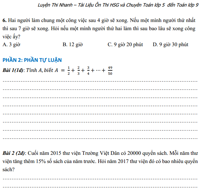 Đề thi toán lớp 5 có đáp án - Luyện Thi Nhanh