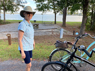 Riding bikes at White Oak COE Campground
