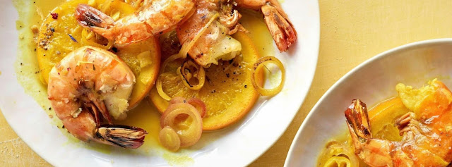 King prawns on spicy orange slices