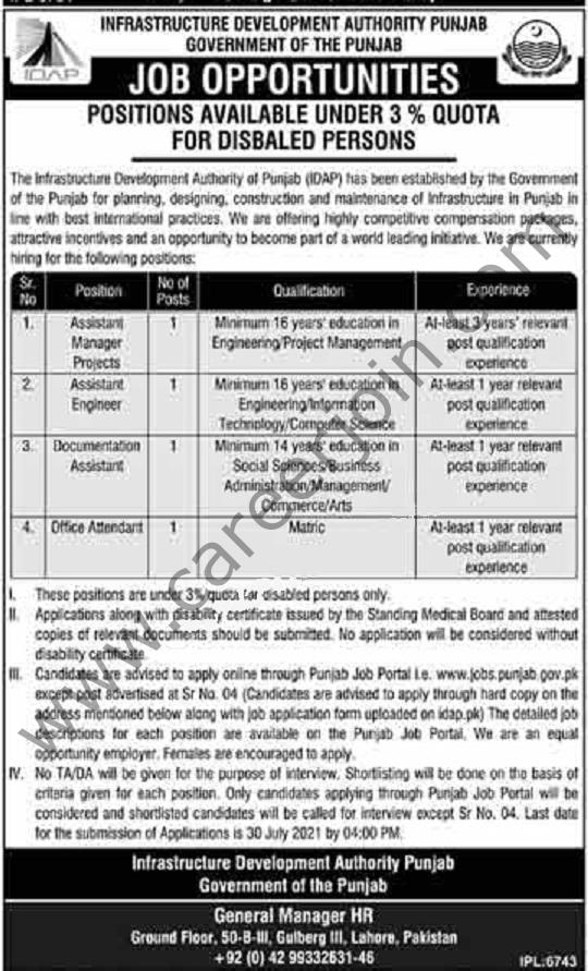 www.jobs.punjab.gov.pk Jobs 2021 - Infrastructure Development Authority Punjab IDAP Jobs 2021 in Pakistan