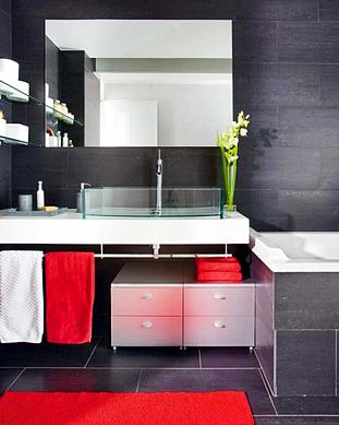 Desain kamar Mandi Minimalis Modern Dengan Aksen warna Merah