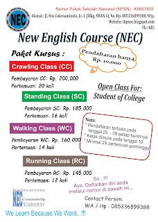 Brosur Lembaga Kursus New English Course di Bone