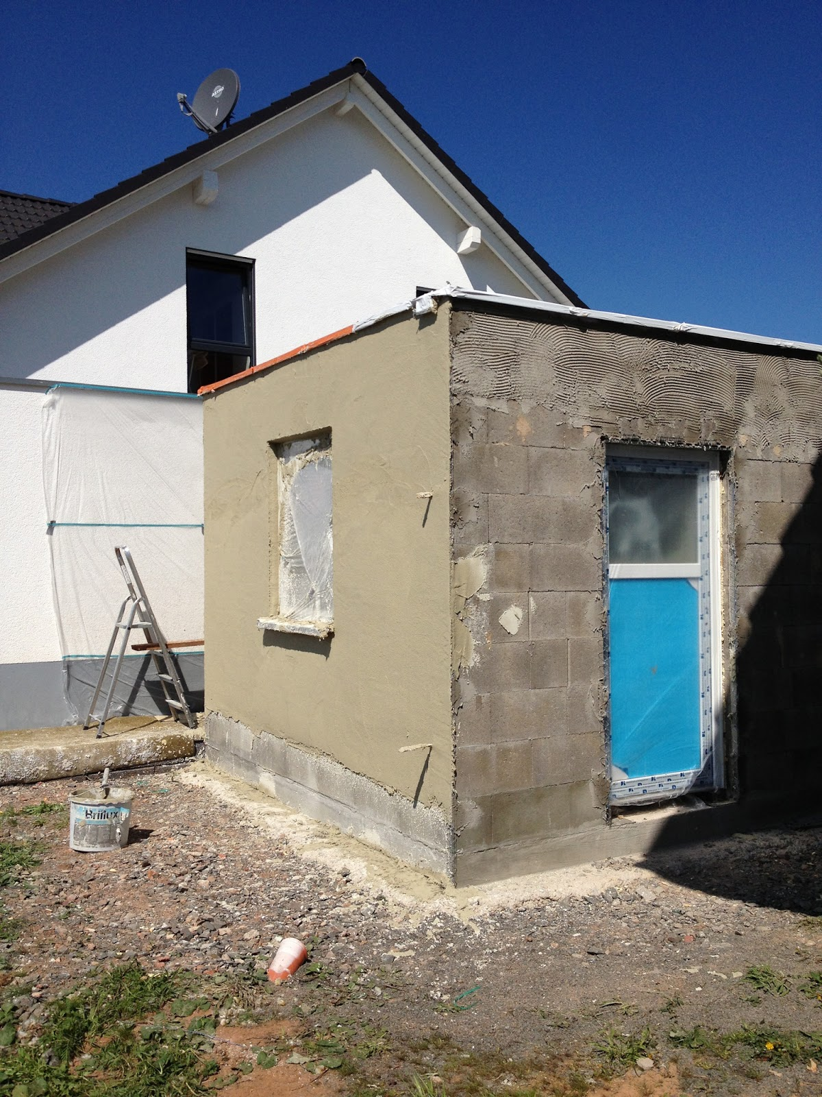 fingerhaus baublog christina und christian garage verputzt. Black Bedroom Furniture Sets. Home Design Ideas