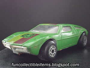 Green Maserati Bora toy car vehicle. 1975 year.
