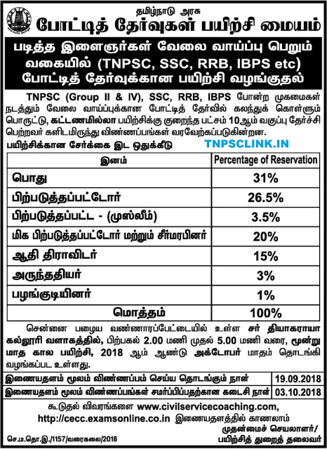 TN Competitive Examination Coaching Centre - Free Coaching Notification 16.09.2018
