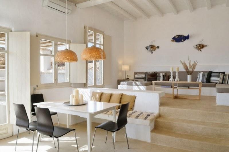 interior neutro y elegante para una villa en Santorini