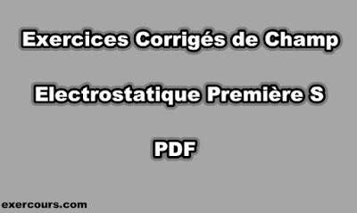 Exercices Corrigés de Champ Electrostatique Première S PDF