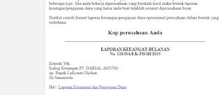 Contoh Laporan Keuangan dan Pengajuan Dana Operasional Perusahaan