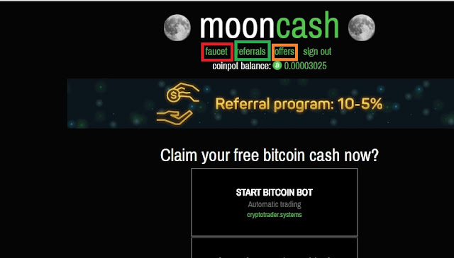 Earn Free Bitcoin Online from Moonbitcoin Cash Faucet