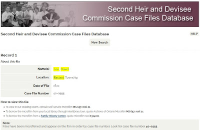 Screen capture of the Archives of Ontario Second Heir and Devisee Commission Case Files Database search for David Lee of Bastard township.