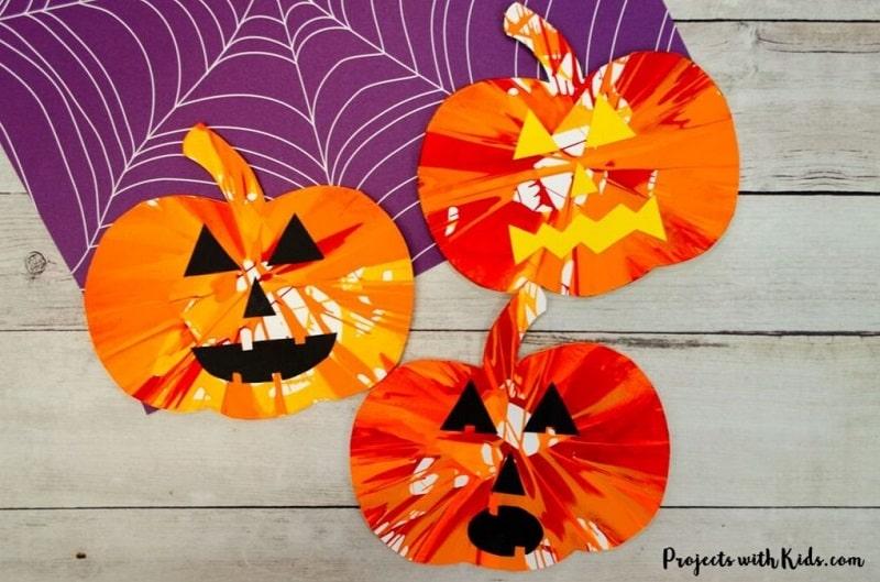 spin art pumpkins