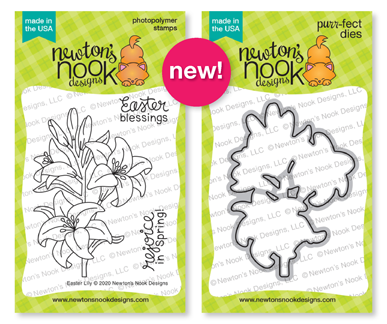 Easter Lily Stamp Set and coordinating die set by Newton's Nook Designs #newtonsnook #handmade