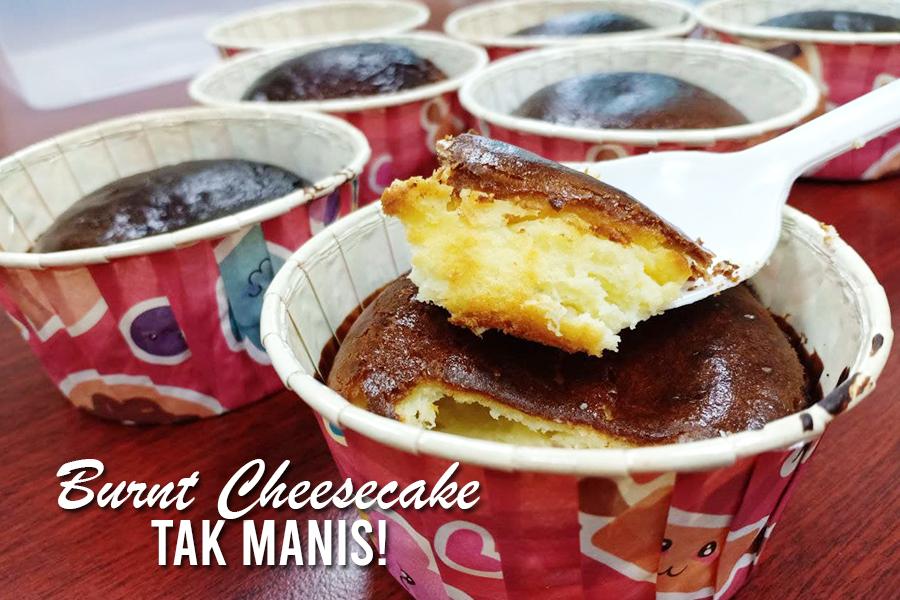 resepi burnt cheesecake khairulaming, burnt cheesecake tak manis, resepi khairulaming,