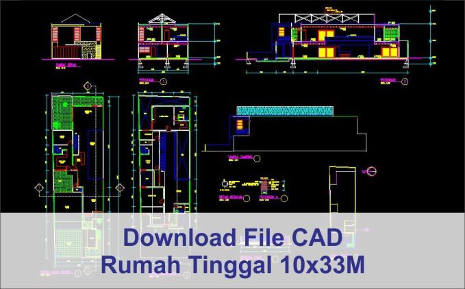 download rumah 10x33 File AutoCad