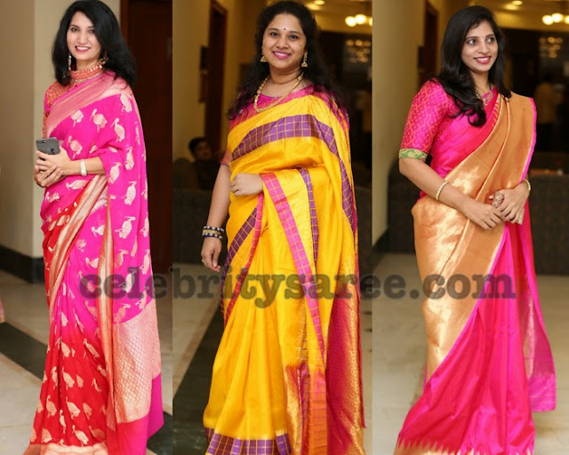 Socialits in Soft Silk Sarees