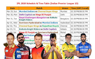IPL 2020 Schedule & Time Table (Indian Premier League 13), IPL 2020 Schedule, Indian Premier League 2020 schedule, full IPL 2020 Schedule final confirmed, official IPL 2020 Schedule,  Indian Premier League (13) 2020 schedule, ipl 2020 schedule & fixture, teams, players, ipl 2020 schedule, match timing, IST time, GMT time, Indian time, 2020 ipl, vivo Indian Premier League 2020 ipl schedule, Indian Primer League IPL, ipl 2020 all teams, venue, place, timing, 2020 vivo ipl, ipl 12 full fixture, live score, point table, ipl schedule, Mumbai Indians, Chennai Super Kings, Delhi Capitals, Kings XI Punjab, Royal Challengers Bangalore, Kolkata Knight Riders, Sunrisers Hyderabad Rajasthan Royals