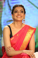 Kajal Aggarwal in Red Saree Sleeveless Black Blouse Choli at Santosham awards 2017 curtain raiser press meet 02.08.2017 070.JPG