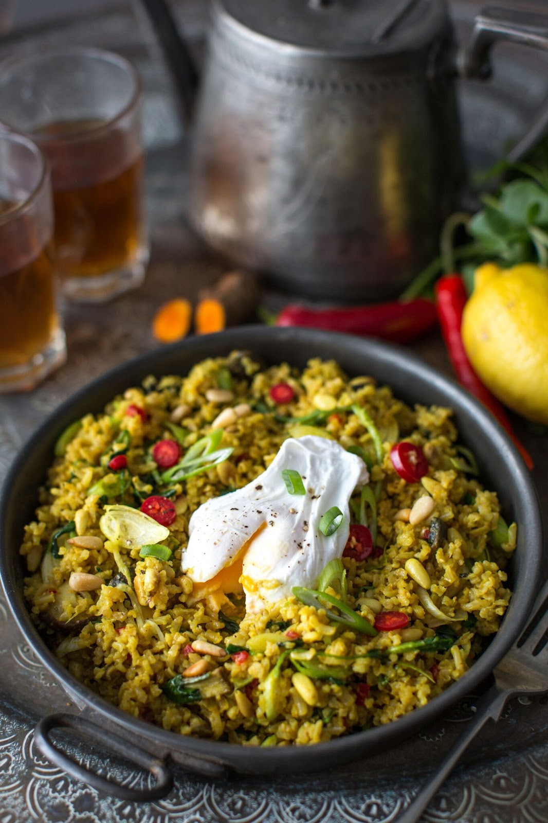 Brown Rice Pilaf with Mushrooms, Watercress and Pine Nuts (v)