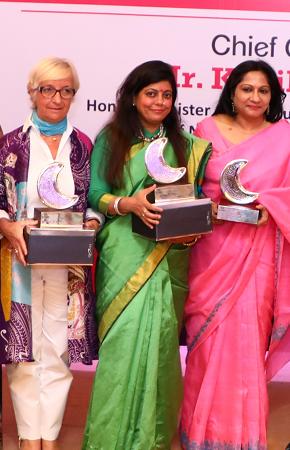 L-R Evelyne Collin, Renu Hussain, Girija Krishan Verma