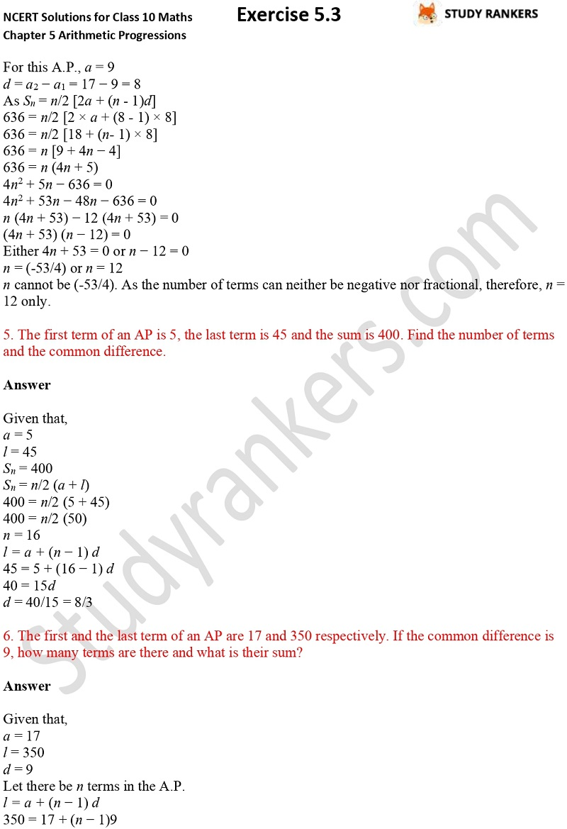 NCERT Solutions for Class 10 Maths Chapter 5 Arithmetic Progressions Exercise 5.3 Part 1 Part 7