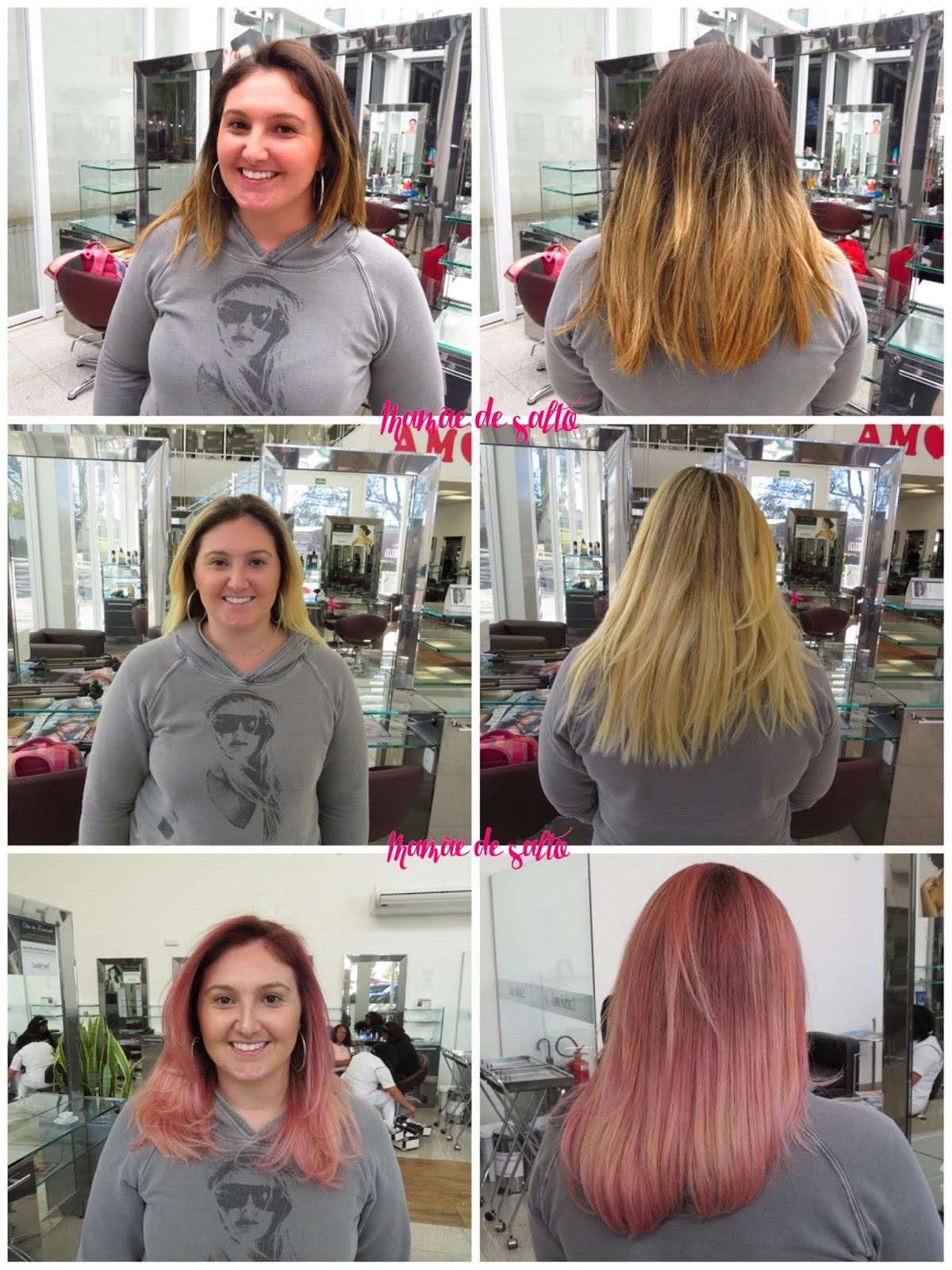processo transformação cabelo loiro em cabelo rosa com Schwarzkopf e Tayna Viana Lady & Lord Ecoville Curitiba
