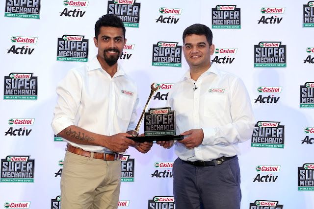 (L-R) Ravindra Jadeja, Brand Ambassador, Castrol Super Mechanic and Mr. ...