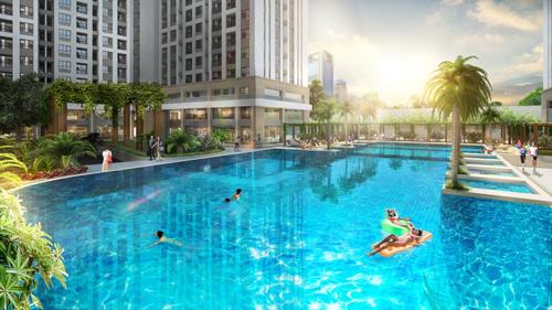 Hai hồ bơi tràn hiện đại, rộng đến 1.700 m²
